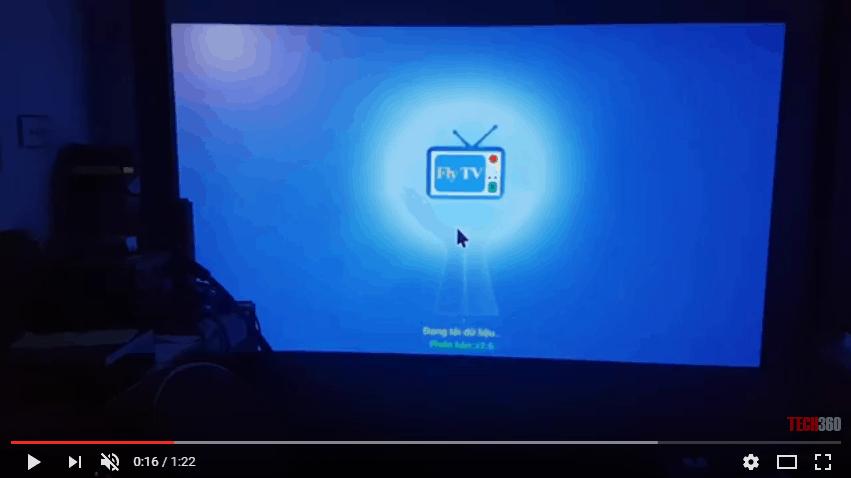 Máy chiếu Android Mini M6 xem truyền hình trực tiếp trên app Fly TV