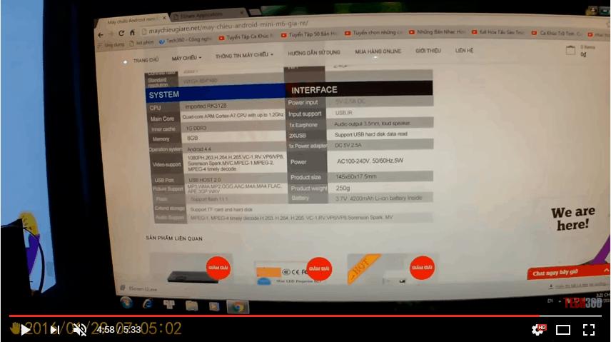 Máy chiếu Android Mini M6 kết nối máy tính để bàn qua mạng Lan
