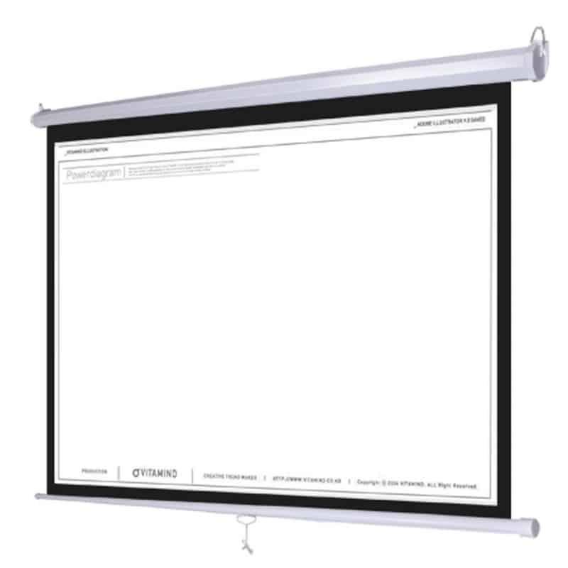 màn chiếu treo tường kéo tay 150 inch