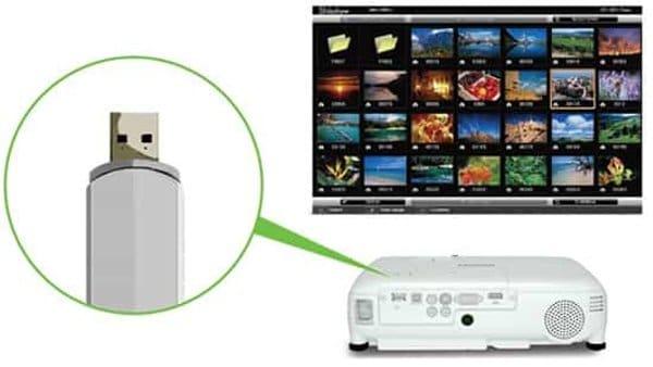 máy chiếu epson eb-x05 trình chiếu từ usb