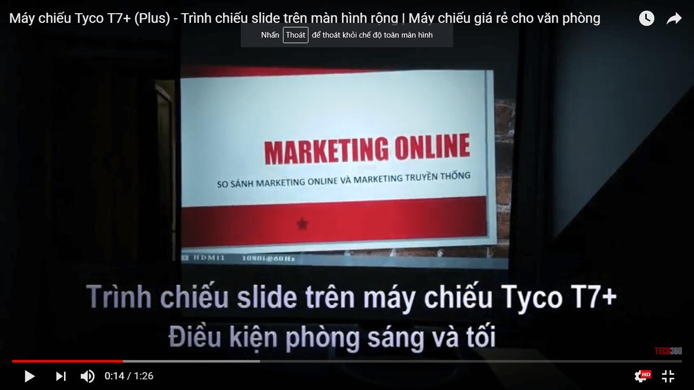 máy chiếu Tyco T7+ trình chiếu slide văn bản