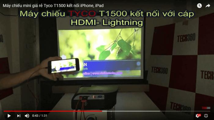 Kết nối Iphone, Ipad với máy chiếu mini giá rẻ Tyco T1500