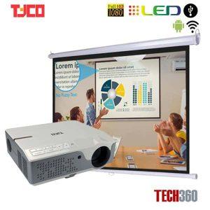 Trọn bộ máy chiếu Tyco T8HD+ Wifi và Màn chiếu treo tường 84 inch