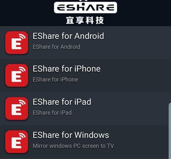 Tính năng Eshare kết nối với điện thoại